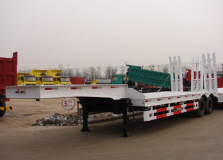 13m 50T Low Bed Semi Trailer with 2 axles for heavy construction machine,Low bed Trailer