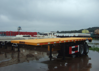 20ft 40T heavy duty FlatBed Semi Trailer with 2 BPW axles for 20 feet Heavy Loaded ISO Container