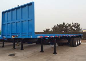 40ft Container FlatBed Semi Trailer With Front Safety Bumper 35 T Capacity