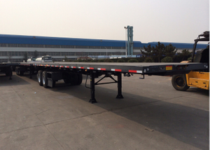 45T Capacity 40 Foot Flatbed Trailer / Drop Deck Semi Trailer With Bogie Suspension