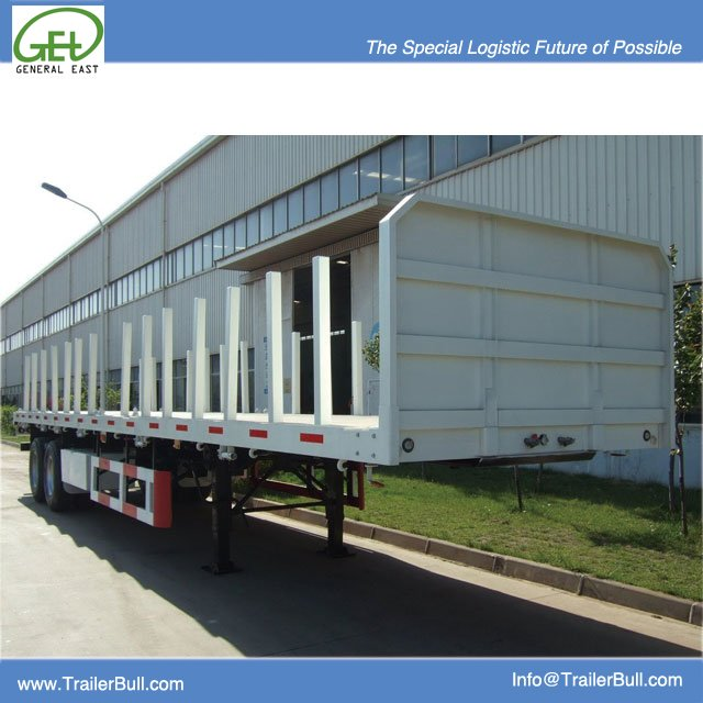 40 Ft Flat Bed Semi-trailer with Pillars for Logs