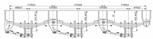 American Tridem Mechinical suspension 13T*3 Grade with 7-leaf spring (16*90 spring Plate)