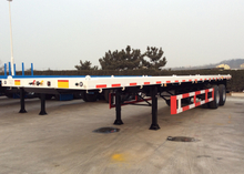 30 T 40ft FlatBed Semi Trailer For ISO Container , Flatbed Car Trailer 2 Axles