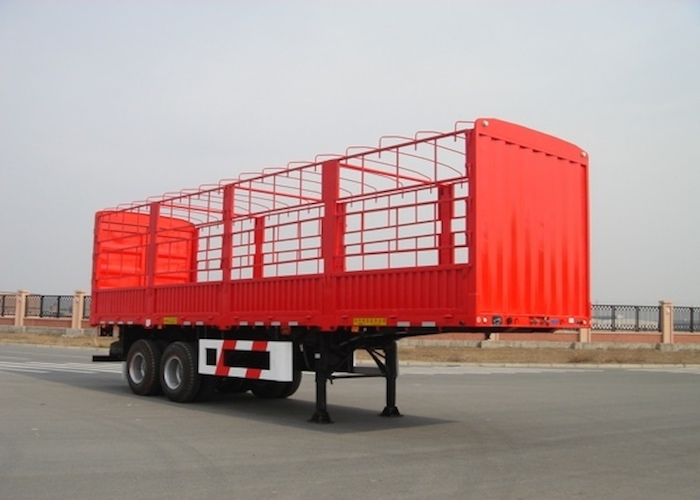 10m Drop Side Trailer 2 Axles with Side Wall And Cargo Fence for Bulky Cargos,Platform Semi Trailer