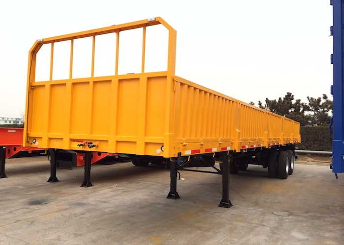 40ft Drop Side Semi Trailer with 3 Axles And Super Single Tire for General Cargo Logistic,Platform Semi Trailer